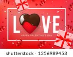 web banner for valentine's day. ... | Shutterstock .eps vector #1256989453