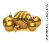 golden christmas balls happy...   Shutterstock . vector #1256991739
