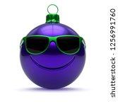 funny christmas ball face blue...   Shutterstock . vector #1256991760