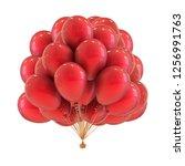 red party helium balloons bunch ...   Shutterstock . vector #1256991763