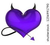 dangerous heart shape of devil...   Shutterstock . vector #1256991790