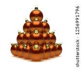 christmas balls pyramid orange...   Shutterstock . vector #1256991796