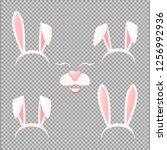 vector bunny ears mask set...   Shutterstock .eps vector #1256992936