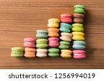 colorful french macaron top... | Shutterstock . vector #1256994019
