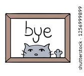 adorable cat and bye message | Shutterstock .eps vector #1256999899