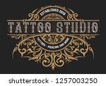 tattoo logo template. old... | Shutterstock .eps vector #1257003250
