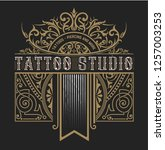 tattoo logo template with... | Shutterstock .eps vector #1257003253
