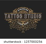 tattoo logo template with... | Shutterstock .eps vector #1257003256
