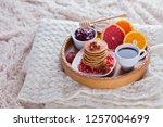pancakes breakfast in bed... | Shutterstock . vector #1257004699