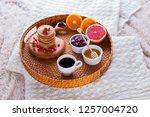 pancakes breakfast in bed... | Shutterstock . vector #1257004720
