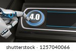 robot pushes the button with... | Shutterstock . vector #1257040066