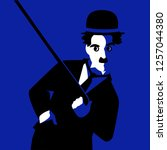 cartoon charlie chaplin. vector ... | Shutterstock .eps vector #1257044380
