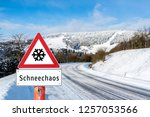 attention snow chaos sign | Shutterstock . vector #1257053566