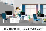 interior working space in house ... | Shutterstock .eps vector #1257055219