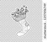 socking gift sticker vector...   Shutterstock .eps vector #1257056749