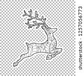 jumping deer sticker vector... | Shutterstock .eps vector #1257056773