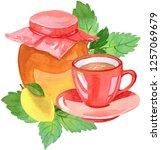 teatime  watercolor... | Shutterstock . vector #1257069679