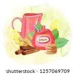 teatime  watercolor... | Shutterstock . vector #1257069709