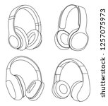 headphones vector illustration  ... | Shutterstock .eps vector #1257075973