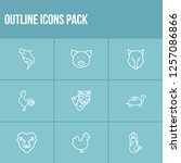 animal icon set and lion with...