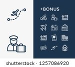 airport icon set and travel...
