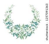 cute watercolor wreath hand... | Shutterstock . vector #1257091363