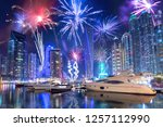 new year fireworks display in... | Shutterstock . vector #1257112990