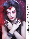 black widow. young woman in... | Shutterstock . vector #125711798