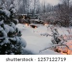 winter in the garden. garden ... | Shutterstock . vector #1257122719