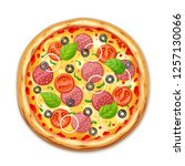 fresh pizza with tomato  cheese ... | Shutterstock .eps vector #1257130066
