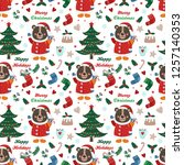 seamless pattern with bear and...   Shutterstock .eps vector #1257140353