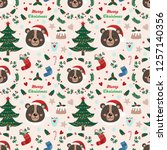 seamless pattern with bear and...   Shutterstock .eps vector #1257140356