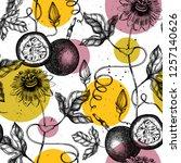purple passionfruit background. ... | Shutterstock .eps vector #1257140626