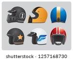 cool retro helmets collection   Shutterstock .eps vector #1257168730