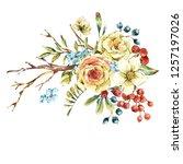 cute watercolor natural floral... | Shutterstock . vector #1257197026