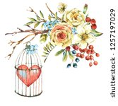 cute watercolor natural floral... | Shutterstock . vector #1257197029