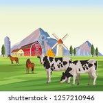 farm animals cartoons | Shutterstock .eps vector #1257210946
