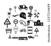 traffic jam icons set. simple... | Shutterstock .eps vector #1257214699