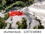 sleigh red new year in the snow ... | Shutterstock . vector #1257218083