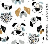 Stock vector childish seamless pattern with funny creative dog faces trendy scandinavian vector background 1257241756