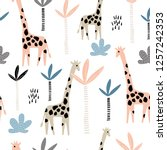 seamless pattern with giraffe... | Shutterstock .eps vector #1257242353