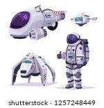 cosmonaut character  spaceship...   Shutterstock .eps vector #1257248449