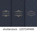 set of vintage seamless damask... | Shutterstock .eps vector #1257249400