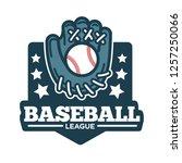 baseball league logo glove made ... | Shutterstock .eps vector #1257250066