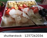 close up fresh fish fillet and... | Shutterstock . vector #1257262036