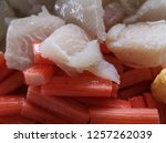 close up fresh fish fillet and... | Shutterstock . vector #1257262039