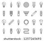 light bulb thin line icons set. ...   Shutterstock .eps vector #1257265693