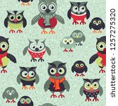 hand drawn owls seamless... | Shutterstock .eps vector #1257275320