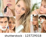montage of couple in bathroom | Shutterstock . vector #125729018