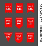 set of red sale icon banners in ... | Shutterstock .eps vector #1257297610